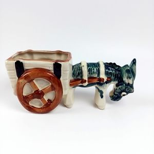 Vintage ceramic donkey planter from Japan